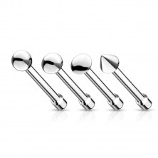 Stainless steel nose piercing - various shapes of head, smooth finish