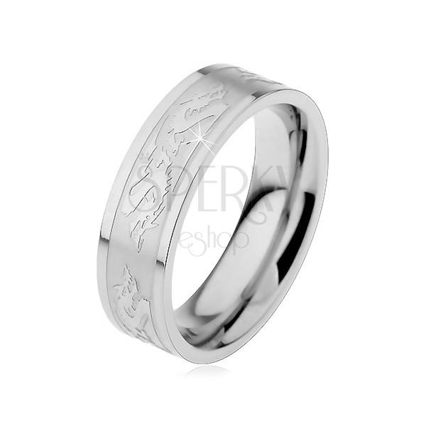 Stainless steel ring - dragon motif