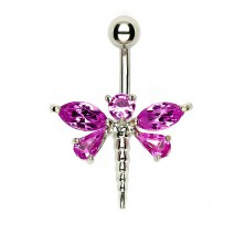 Belly dragonfly piercing - five pink zircons