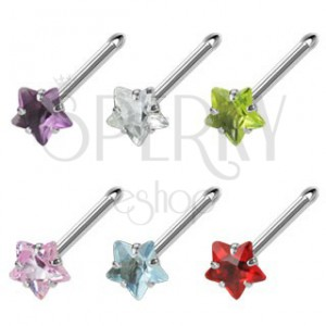 Steel nose piercing with star-shaped colorful zircon