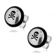Steel earrings - black skull, crossbones, rubber O-ring