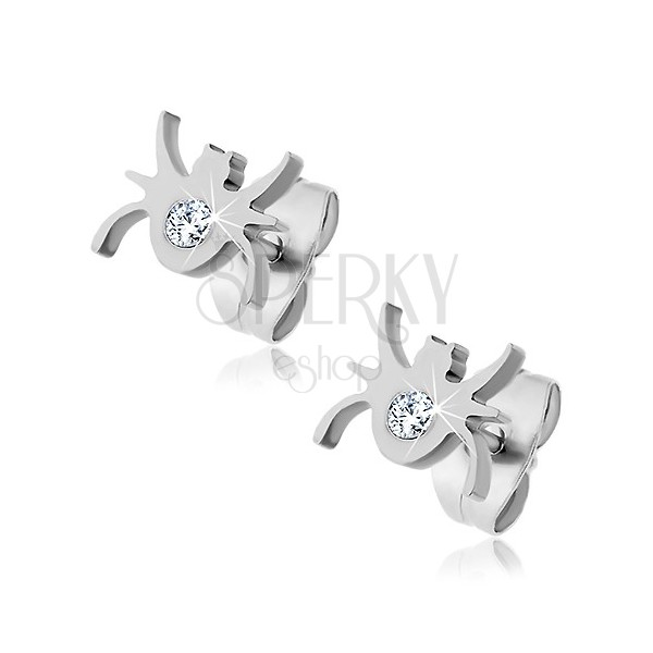 Stainless steel earrings - spider with central zircon