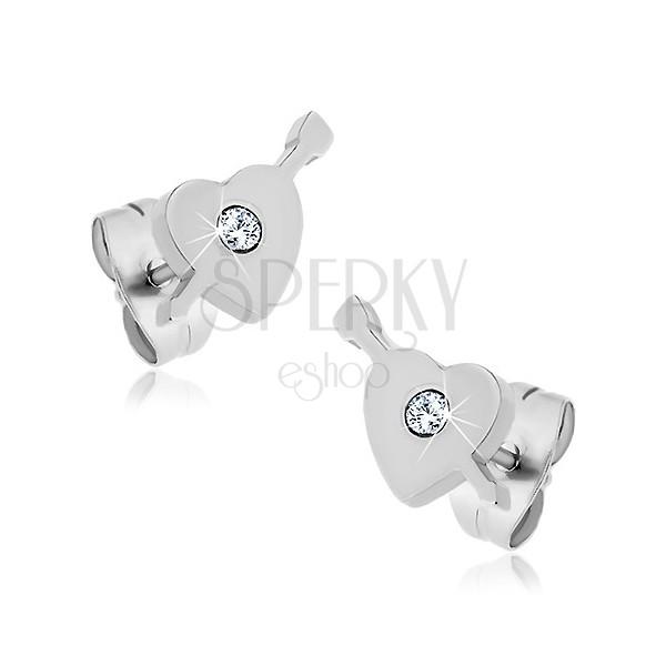 Surgical steel earrings - heart, arrow, zircon