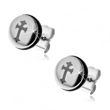 Steel earrings in silver colour, circle with cross and black rubber band