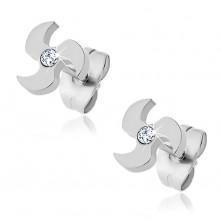 Surgical steel earrings - propeller, zircon