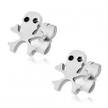 Surgical steel earrings - skull shape, black eyes, crossbones