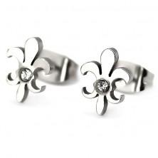 Steel earrings - lily flower with zircon