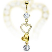 Belly button ring - two golden hearts and zircon