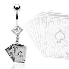 Belly button ring - playing cards