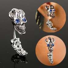 Steel ear piercing - a pirate skull with zircon eyes