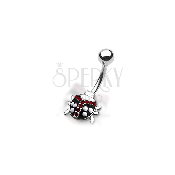 Belly button ring - polka-dots ladybird with red zircons