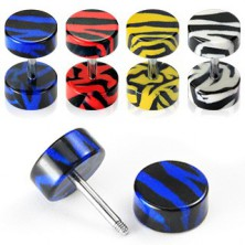Fake ear plug - coloured tiger pattern