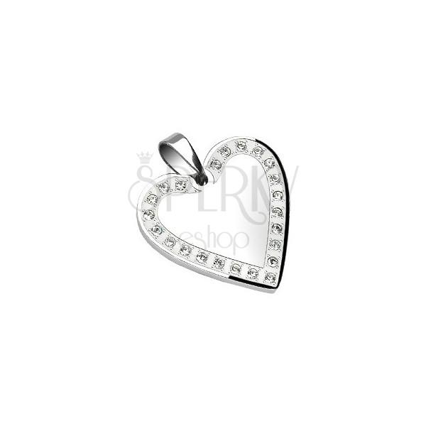 Stainless steel pendant - mirror in heart