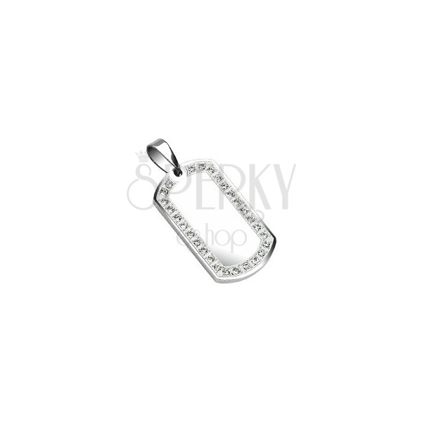 Stainless steel pendant - dog tag with mirror 30 mm