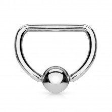 """316L steel piercing - circle shape of letter """"D"""" with glossy ball"""