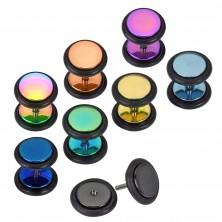 Fake ear plug of 316L steel - colourful circles of anodized titanium