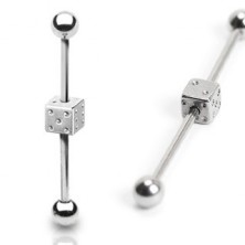 Industrial ear barbell with dice