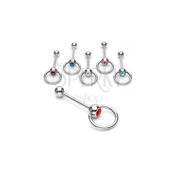 316L Steel tongue piercing – shiny bar with a ring, finished with a zircon in a bezel