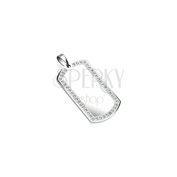 Stainless steel Dog Tag - mirror, zircons 50 mm