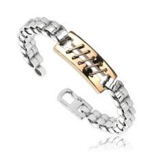Steel bracelet of cylinder links, tag with studs