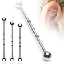 Steel ear piercing - labret with jags, ball beads