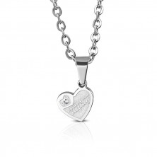 Steel pendant for couple - two hearts with flowers, zircon