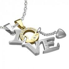 """Set of steel pendants - LOVE, golden """"O"""" letter"""