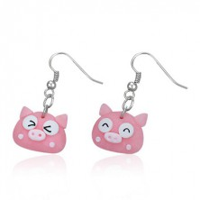 Earrings made of FIMO - pink pig