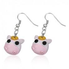 Fimo earrings - pink cow, black eyes