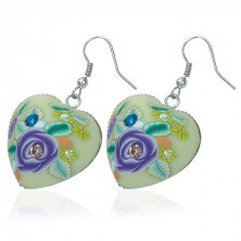 Fimo earrings - heart with violet flower