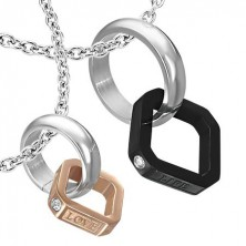 Steel double pendant - ring, copper and black square