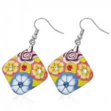 Earrings Fimo - yellow square, flowers, zircons