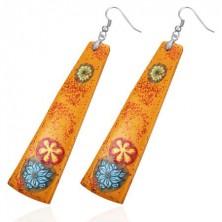Orange Fimo earrings - long rectangle, flowers