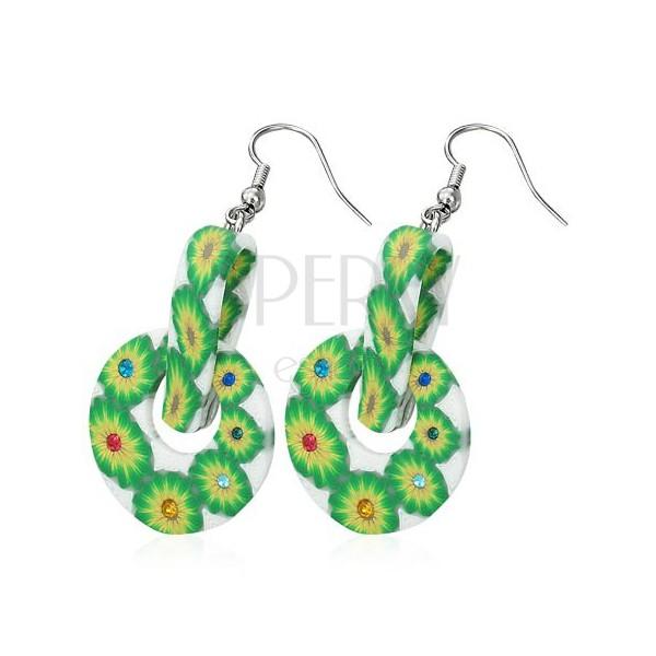 FIMO round earrings - green flowers, peg
