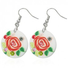 Earrings made of Fimo material - rose, coloured zircons