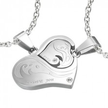 Two-part pendant for lovers with heart and zircons