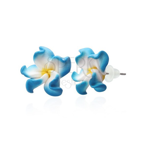 Fimo earrings - white and blue petals, Plumeria flower