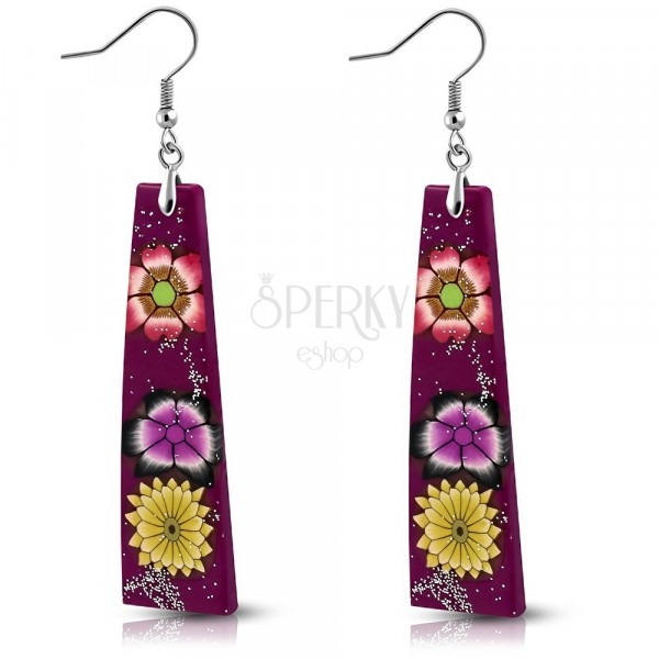 Earrings made of FIMO - violet rectangles, flowers and glitters