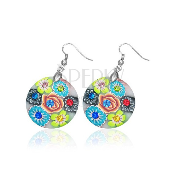 Fimo earrings - circle with rose in the middle, flowers