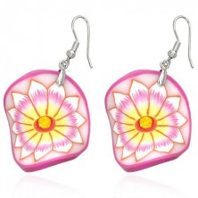 Fimo earrings - pink wavy circle, flower with yellow centre