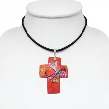 Necklace Fimo - red glittered cross and butterfly