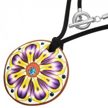 Fimo necklace - round, violet-yellow flower, zircons