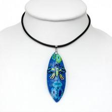 Fimo necklace - blue, glittered, butterfly motif