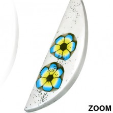 Earrings made of FIMO material - white tear, two coloured flowers, glitters