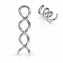 Steel ear piercing of silver colour - glossy contour of spiral