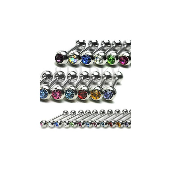 Tongue ring with a colourful zircon