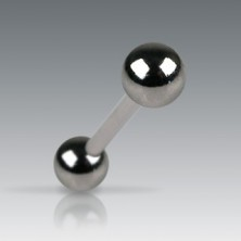 Tongue barbell with darker matt balls