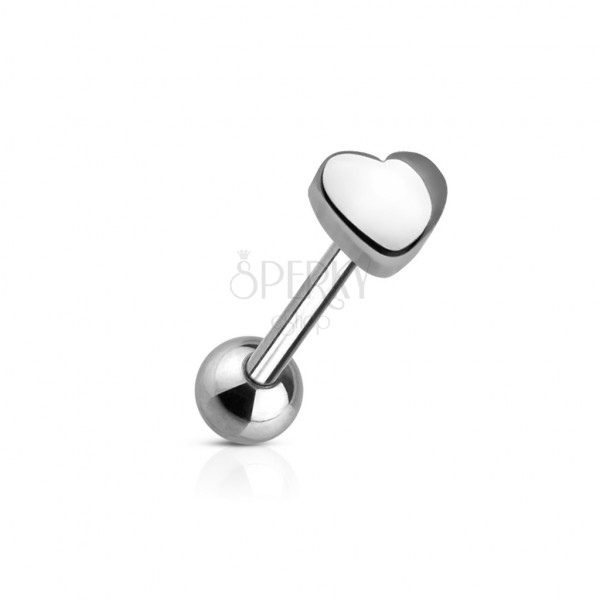 Tongue ring with a small heart