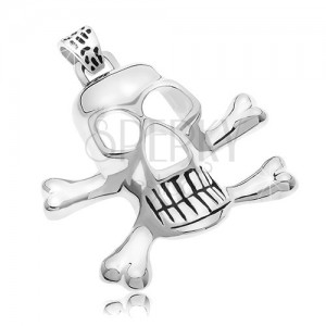 Surgical steel pendant - pirate skull, silver colour