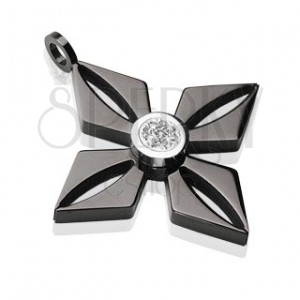 Pendant made of black surgical steel - flower with glossy clear zircon